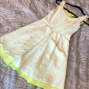 NWOT TAHARI lace neon overlay dress - so classy!